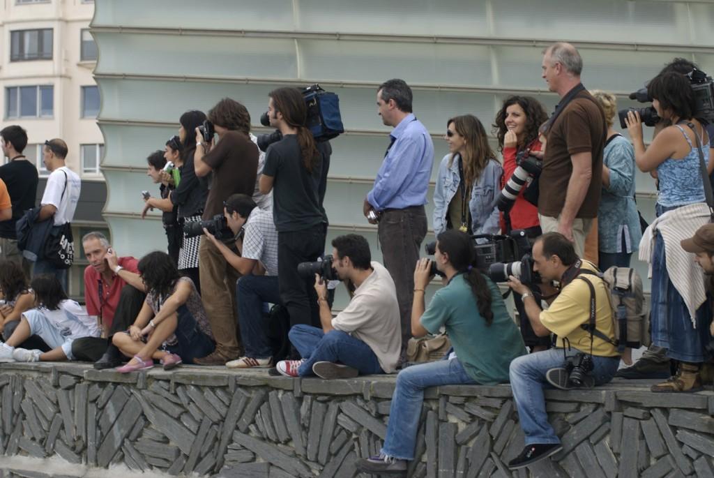 Con los colegas en el Zinemaldia de San Sebastián.